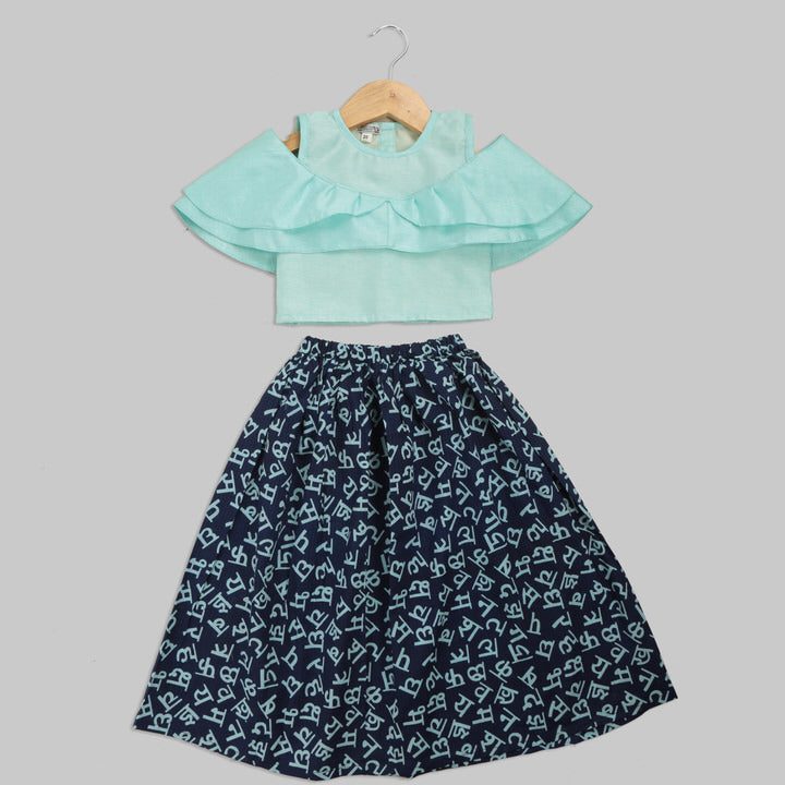 Pale Blue Art Silk Top and Dark Blue Skirt