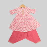 Pink And White Printed Cotton Kurti With Fancy Salwar