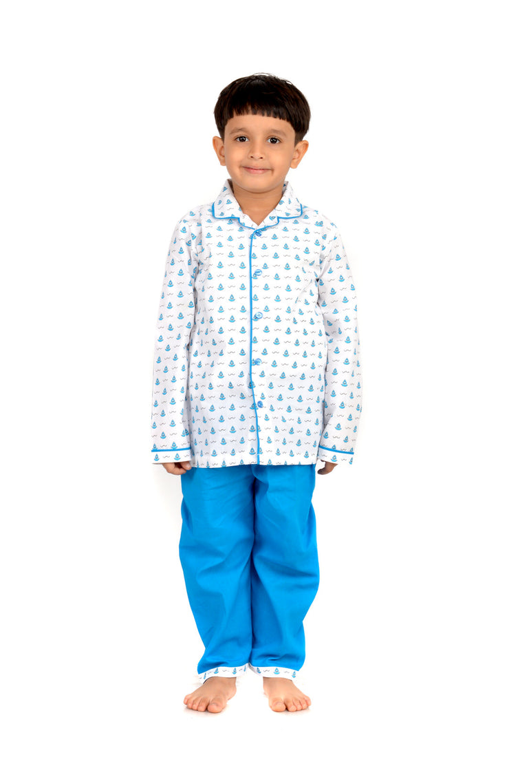 The Perfect Sailor – Blue Printed Full Sleeves Nightwear For Boys