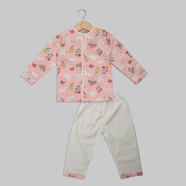 Pink and White Cotton Pyjama Set with Rabbit Print