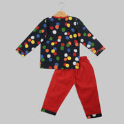 Black and Red Cotton Pyjama Set with Polka Dots
