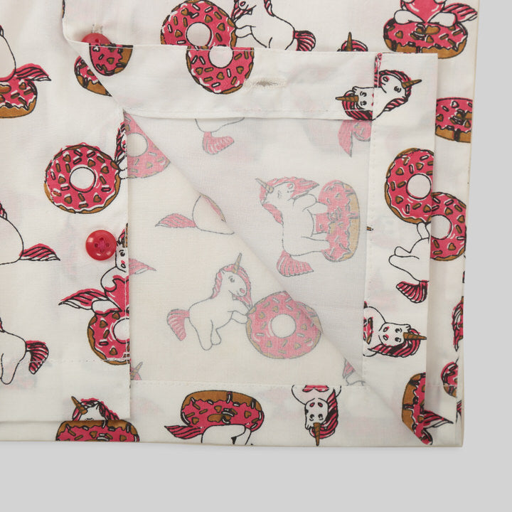White and Pink Cotton Pyjama Set with Unicorn and Doughnut Print
