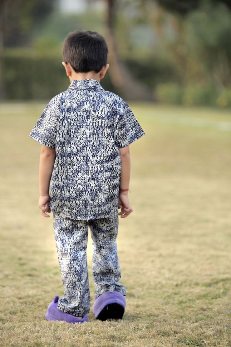 Alphabet Printed Half-Sleeves Nightwear For Boys