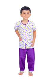Paper Plane Printed Nightwear Set For Boys