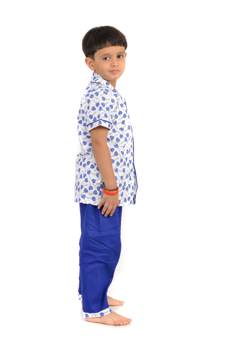 Heart Shape Lollipop Printed Nightwear For Boys – Blue