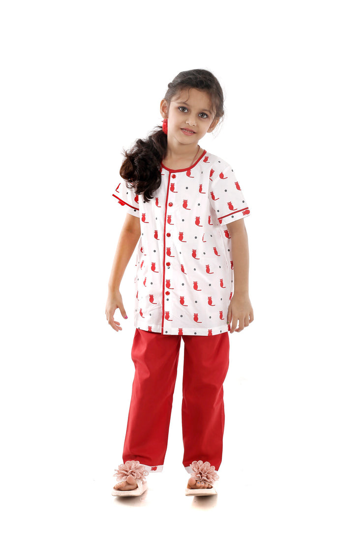 The Cheeky Cat Print Red Half-Sleeves Nightwear for Girls