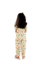 Pencil Print Half-Sleeves Nightwear for Girls