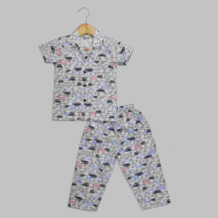 Car Printed Half-Sleeves Nightwear For Boys
