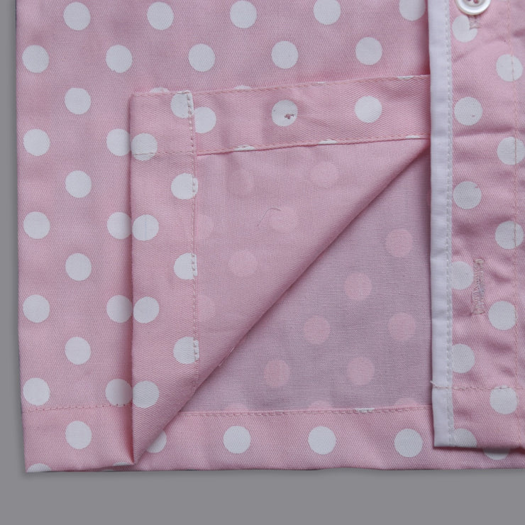 Pink and White Polka-Dot Nightwear Set for Girls