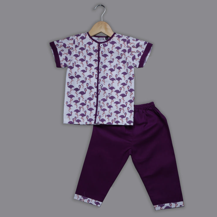 Flamingo Printed Purple Nightwear Set for Girls