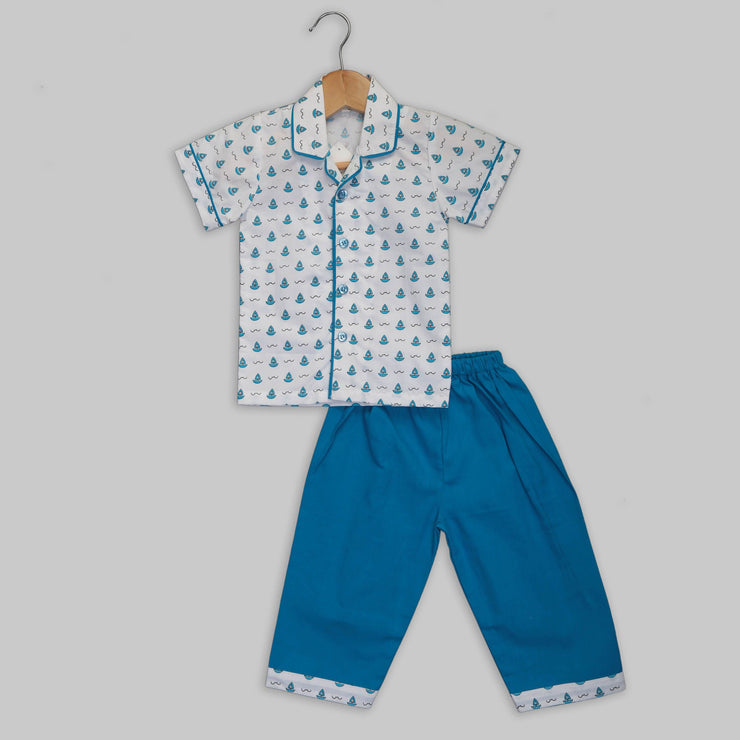 The Perfect Sailor – Blue Colour Printed Night-Suit Set