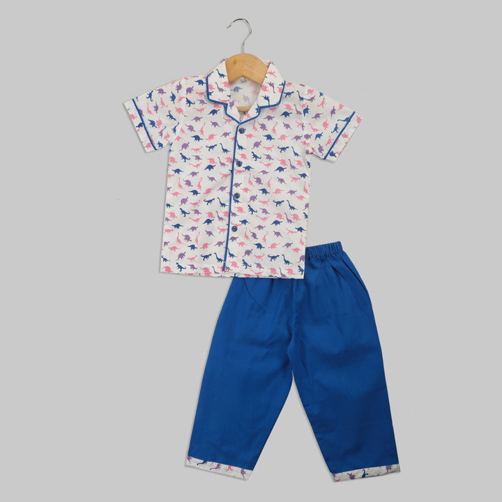 White and Blue Cotton Pyjama Set Featuring Multicoloured Dinosaur Print