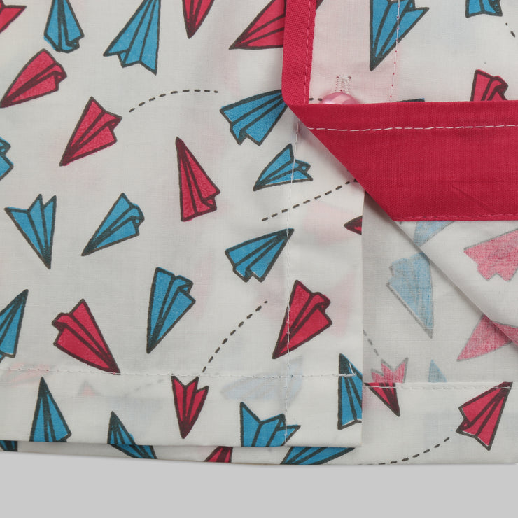 White and Pink Cotton Pyjama Set with multicoloured Paper Plane Print
