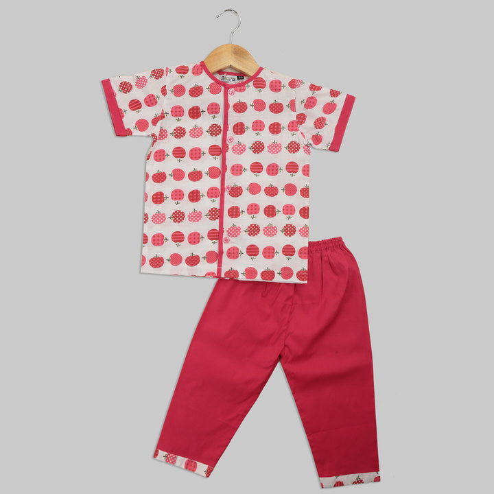 White and Red Cotton Pyjama Set with Apple Print