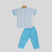 Blue and White Cotton Pyjama Set For Kids with Elephant Print