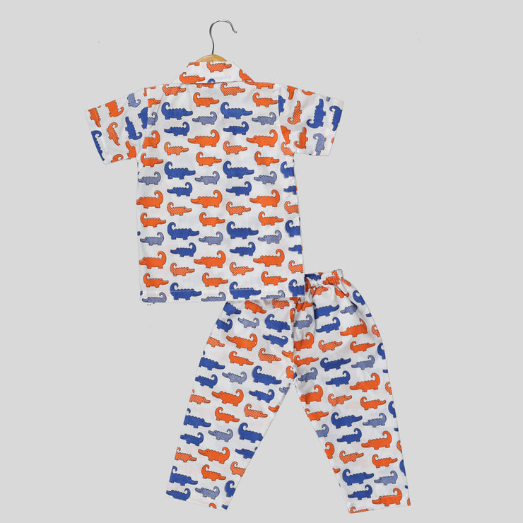 Cotton Pyjama Set For Kids With White, Blue And Orange Alligator Print