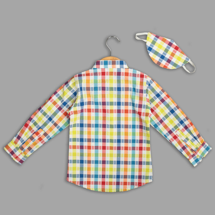Multicoloured Cotton Shirt For Boys With Mask