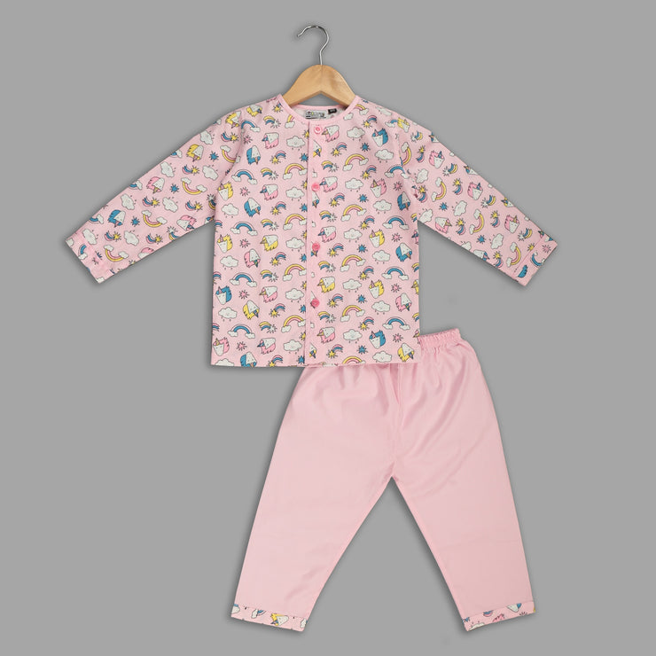 Pink Cotton Pyjama Set with Unicorn Print