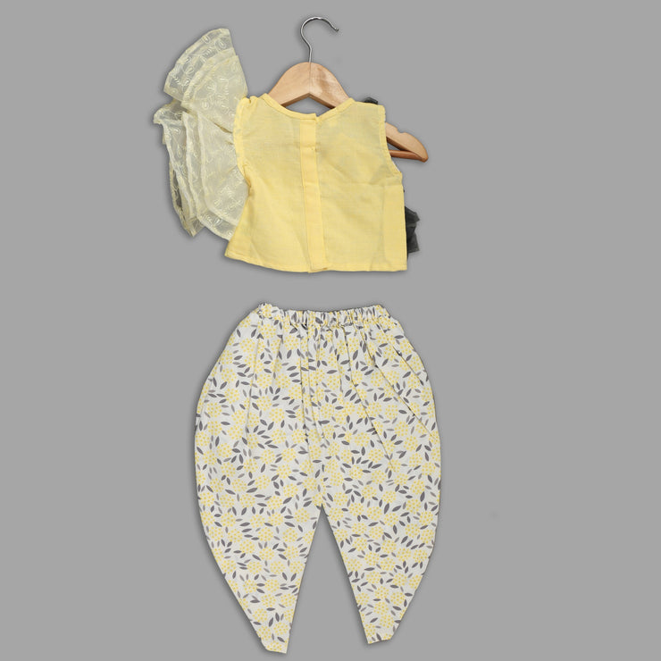 Yellow Top and Dhoti Pant Set for Girls