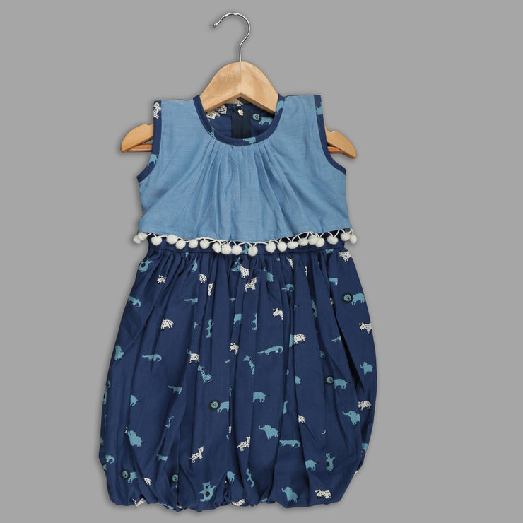 Blue Cotton Balloon Frock For Girls