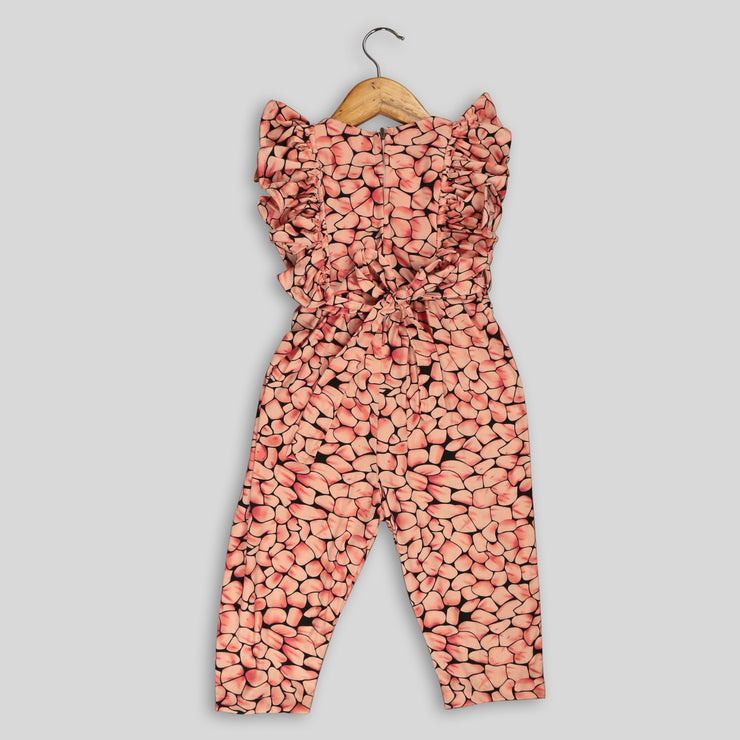 Peach Hosiery Jumpsuit For Girls