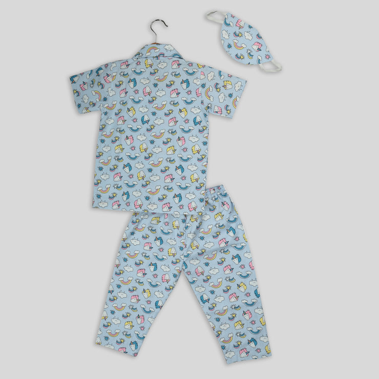 Blue Cotton Pyjama Set with Unicorn Print
