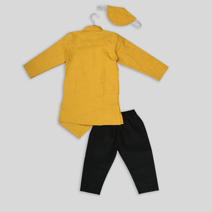 Yellow Asymmetric Kurta with Cotton Pyjama for Boys