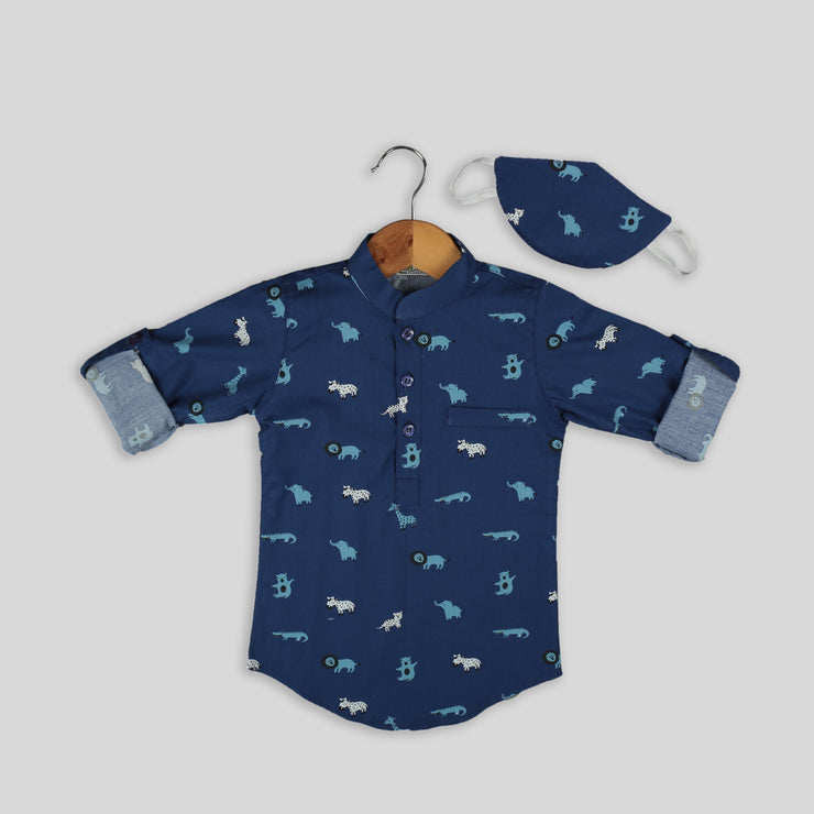 Blue Cotton Shirt For Boys With Mask