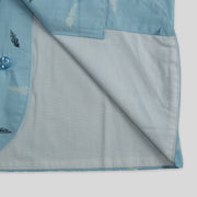 Blue Cotton Waistcoat with Feather Print