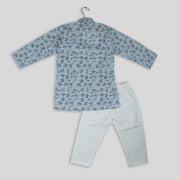 Blue Haze Cotton Linen Kurta Pyjama Set for Boys
