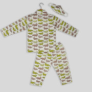 Green And Brown Cotton Pyjama Set With Alligator Print