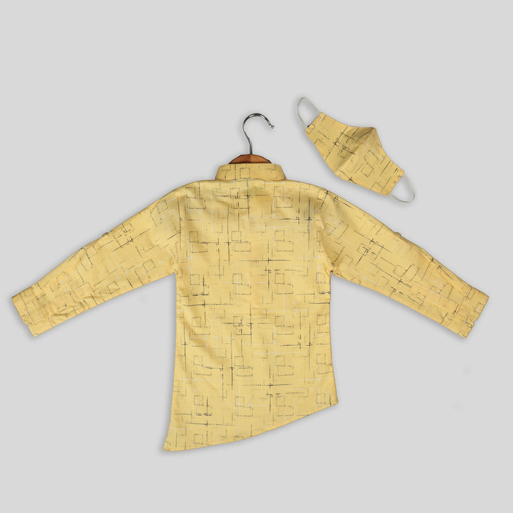 Yellow Geometrical Print Cotton Shirt For Boys With Asymmetrical Hemline