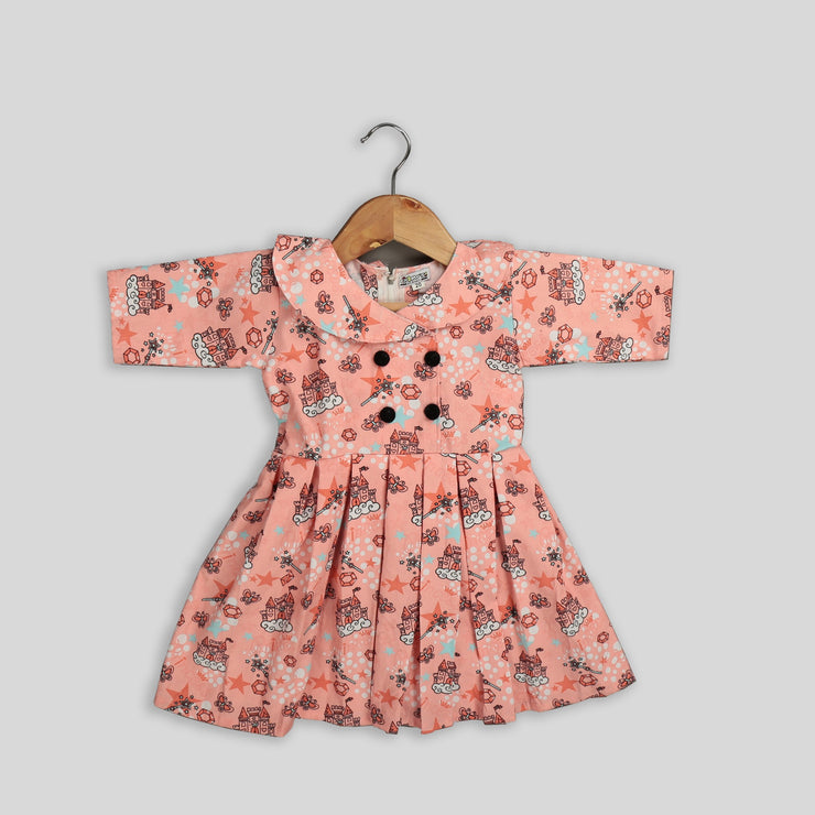 Peach Corduroy Frock with Pleats