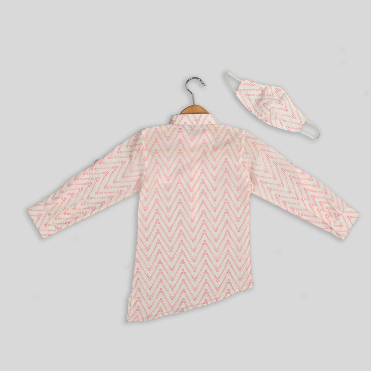 White and Pink Cotton Asymmetrical Shirt