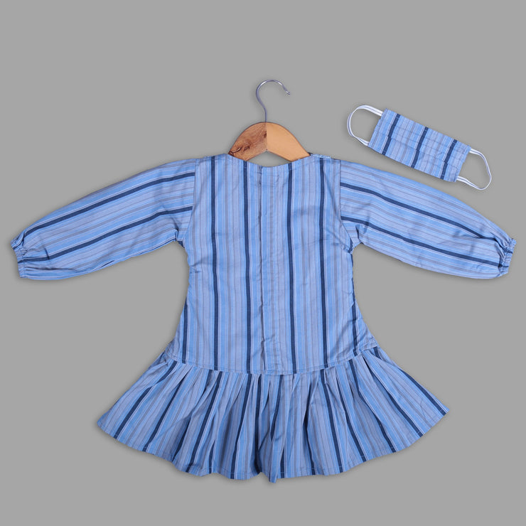 Blue Cotton A-Line Frock for girls With Peter Pan Collar