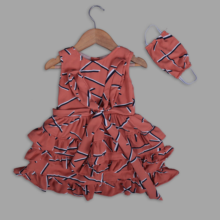 Orange Skater Frock For Girls With Flares and Mask