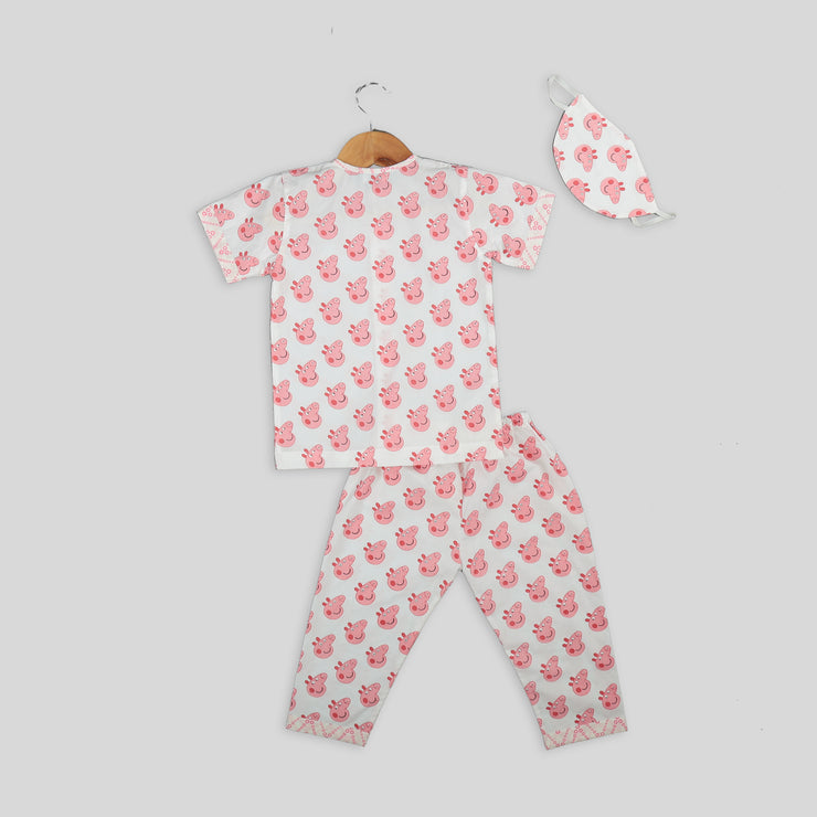 Pink and White Cotton Pyjama Set For Kids with Peppa Pig Print