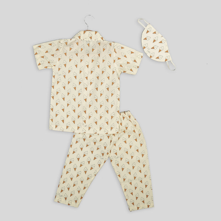 Cotton Pyjama Set For Kids With Ice Cream Print