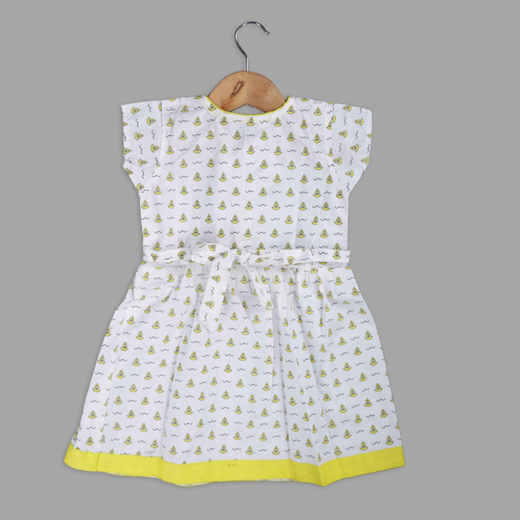 Yellow and White Frock with a Bow