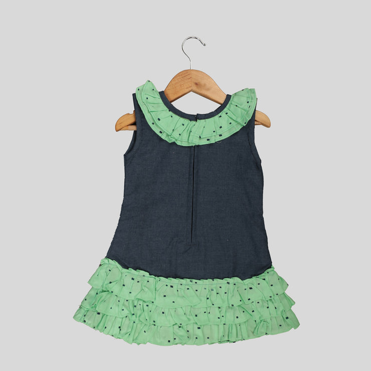 Blue And Green Cotton Skater Frock For Girls