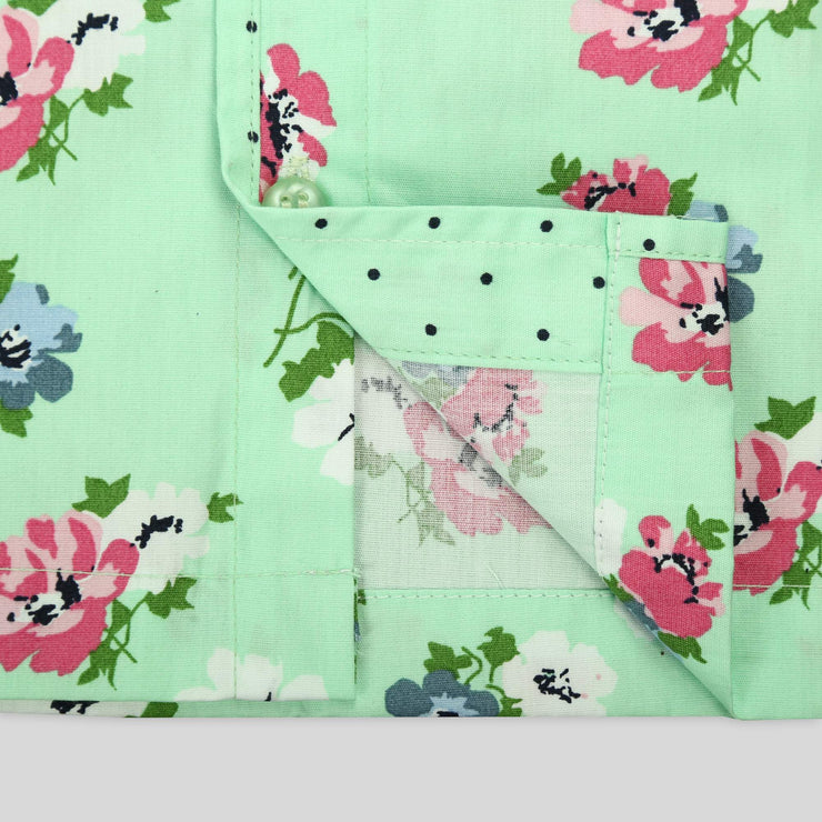Green Flower Garden Sleep Wear For Girls