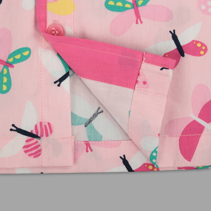 Pink Cotton Pyjama Set with Butterfly Print