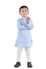 Blue Self Stitched Kurta Pyjama Set for Boys