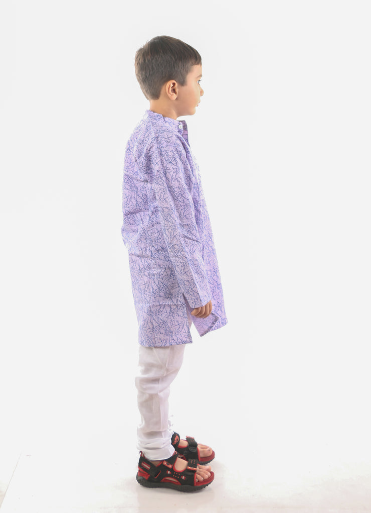 Purple Haze Cotton Linen Kurta Pyjama Set for Boys