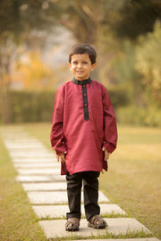 Maroon Silk Kurta Pyjama Set for Boys