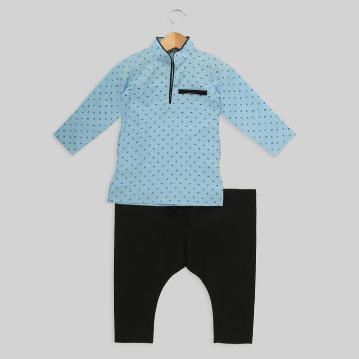 Blue Cotton Kurta And Pyjama set For Boys