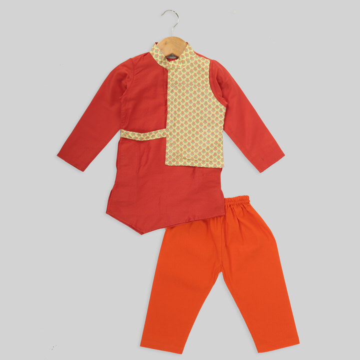 Orange and Yellow Cotton Silk Kurta And Orange Cotton Pyjama