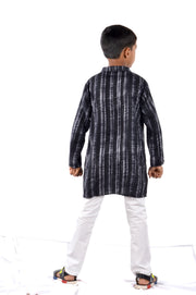 Black Cotton Rayon Kurta Pyjama Set for Boys