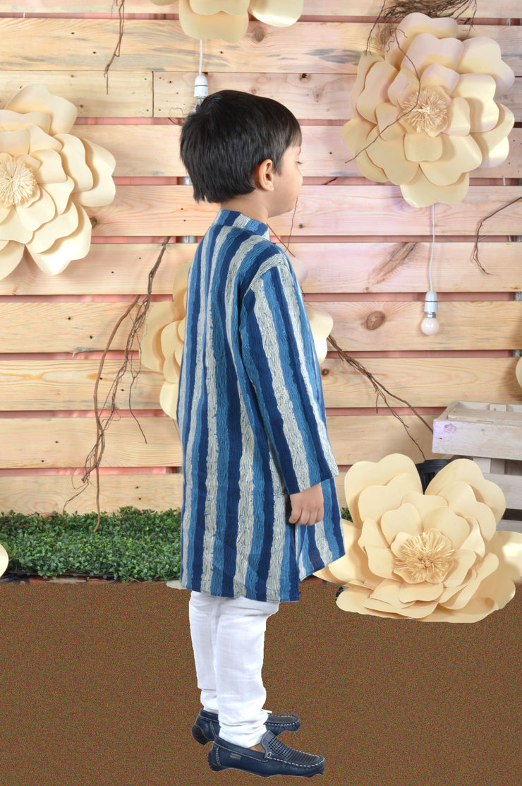 Vertical Stripes Cambric Cotton Kurta Pyjama Set for Boys