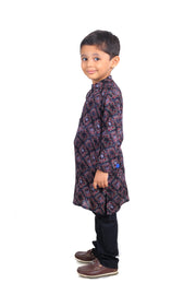 Printed Cotton Rayon Kurta Pyjama Set for Boys
